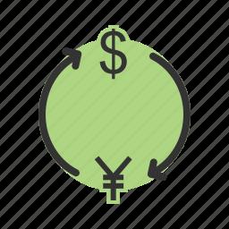 convert, currency, dollar, exchange, money, yen icon