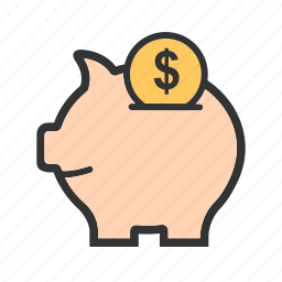 bank, coin, currency, money, piggy, saving, savings icon