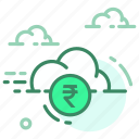 cloud, currency, finance, money, rupee icon