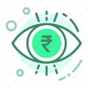 currency, eye, finance, rupee, view icon