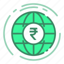 currency, globe, money, rupee icon