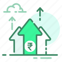 currency, growth, money, rupee, top icon