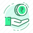cash, coin, hand, money, rupee icon