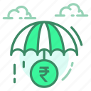 currency, payment, rupee, saving, umbrella icon