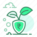 currency, growth, plant, rupee, shield icon