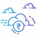 cloud, currency, finance, money, rupee