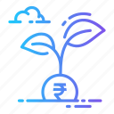currency, growth, money, plant, rupee icon