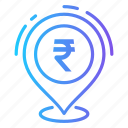 business, currency, location, money, rupee icon