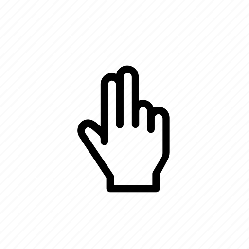 cursor, finger, gesture, hand, point, tap, two finger icon