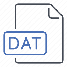 dat, data, extension, file, format icon