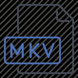 extension, file, film, format, hd, matroska video, mkv icon