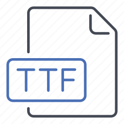 extension, file, format, true type font, ttf icon
