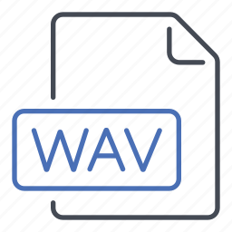 extension, file, format, wav, waveform icon