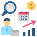 analysis, data, marketers, marketing, research icon