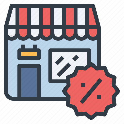 discount, market, retail, sale, shopping, storefront icon