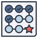 collection, goal, path, point, process, timeline icon