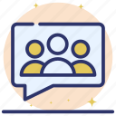 chat, group chat, group communication, group discussion, messaging, team conversation icon