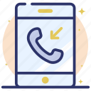 call, communication, incoming call, mobile call, phone, receive call icon