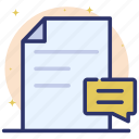 comments, document, feedback file, remarks, review icon
