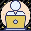 computer operator, computer user, freelancer, online employee, online person, online webinar icon