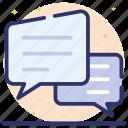 chat, communication, conversation, discussion, messages, messaging, speech bubbles icon