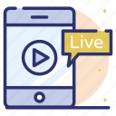 live streaming, mobile video, online video, video lesson, video streaming icon