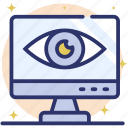 cyber monitoring, inspection, online monitoring, online review, remote monitoring icon