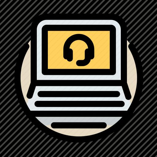 communications, customer, information, laptop, service icon