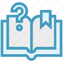 book, customer service, mark, open book, question mark, ribbon, service icon