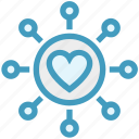 circle, customer service, heart, love, ornament, support icon