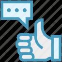 customer service, feedback, hand, like, message, service, thumb icon
