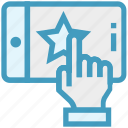 click, finger, hand, mobile, phone, service, star icon