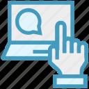 chat, click, comment, finger, hand, laptop, service
