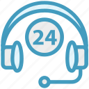 24 hours, customer service, headphone, headset, help, service, support icon