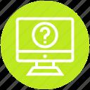 customer service, lcd, monitor, question, service icon