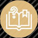 book, customer service, mark, open book, question mark, ribbon, service icon