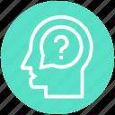 customer, customer service, head, question mark, service, support, user