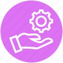 cogwheel, customer service, gear, hand, service, setting, support icon