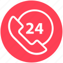 24 hours, 24 hours support, call, customer service, receiver, telephone, vintage icon