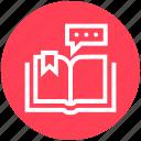 book, chat, customer service, message, open book, ribbon, service icon