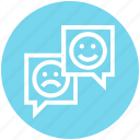chatting, comment, customer service, happy, sad, service, support icon