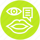 chat, comment, customer service, lip, message, support, watch icon