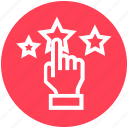 click, customer service, hand, rating, stars, support, touch icon