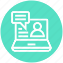 computer, customer service, email, laptop, service, support, user icon