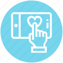 click, finger, hand, heart, mobile, phone, service icon