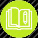 book, customer service, open book, pen, pencil, writing icon