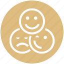 blink, customer service, happy, sad, smiley face, support, wink icon