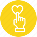 click, customer service, hand, heart, rating, support, touch icon