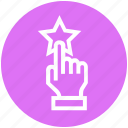click, customer service, hand, rating, star, support, touch icon
