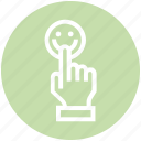 click, customer service, hand, rating, smiley face, support, touch icon